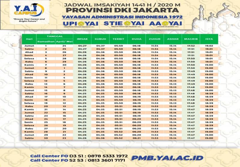 Jadwal Imsakiyah 1441 H/2020 M Provinsi DKI Jakarta ...